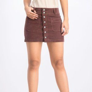 We The Free FP Brown Corduroy Button Front Skirt